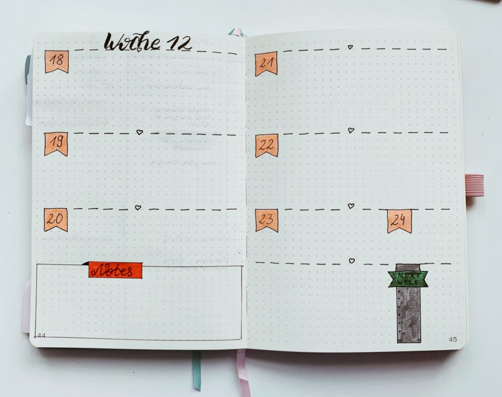 Bullet Journal Weekly Spread Log